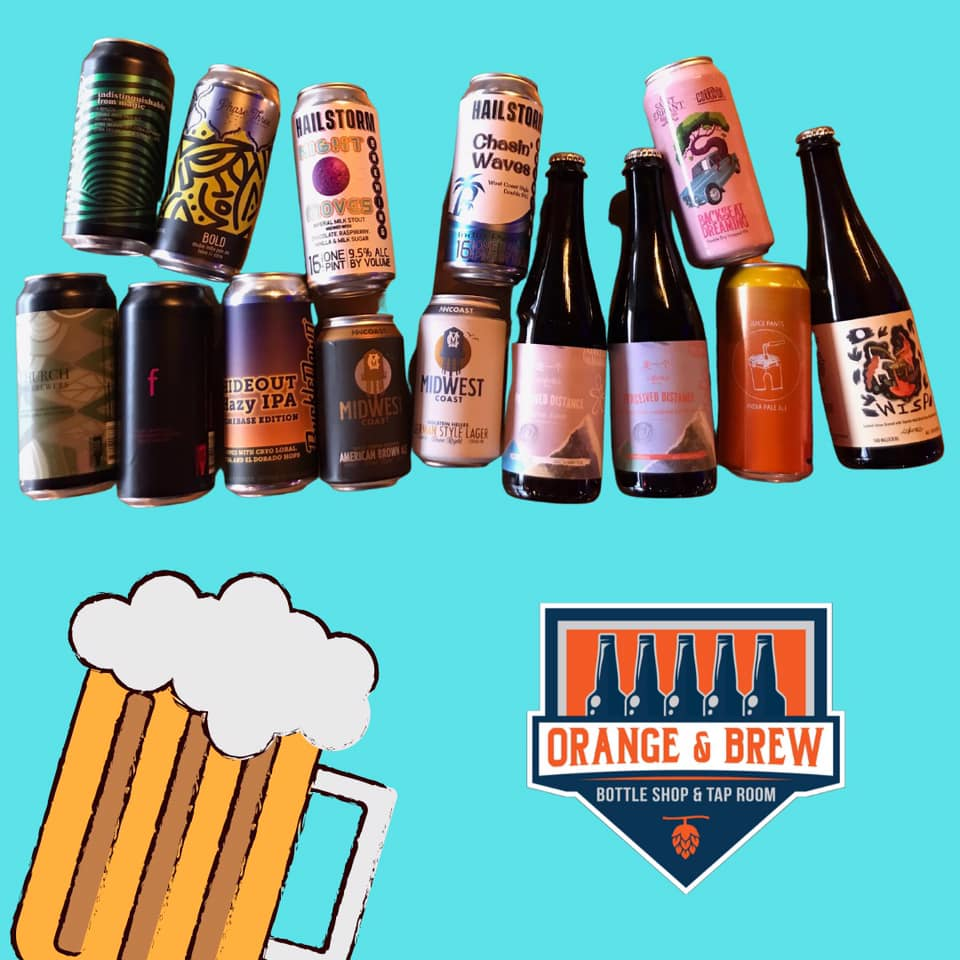 Several cans and bottles on a graphic featuring Orange & Brew logo