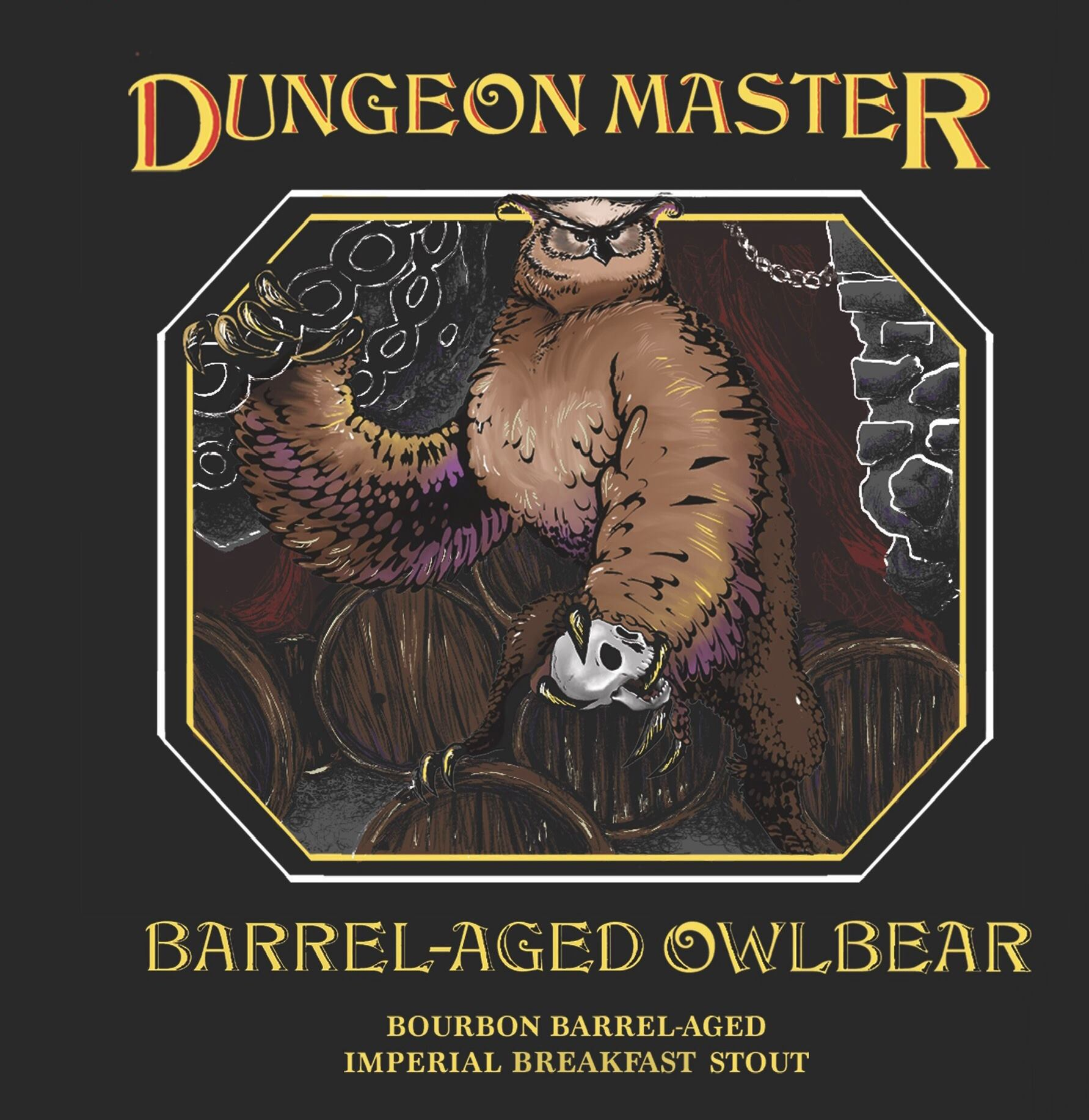 Logo for Barrel-Aged Owlbear, part of Miskatonic Brewing Company's Dungeon Master series