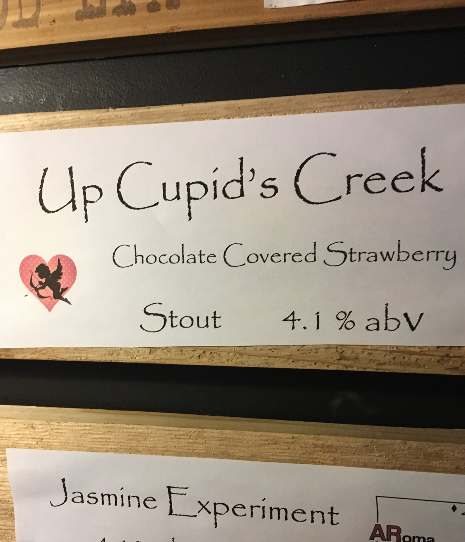Sign for Up Cupid's Creek  from Hickory Creek brewing