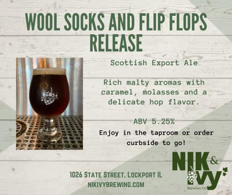 Graphic for the Wool Socks and Flip Flops release from Nik & Ivy Brewing in lockport, IL
