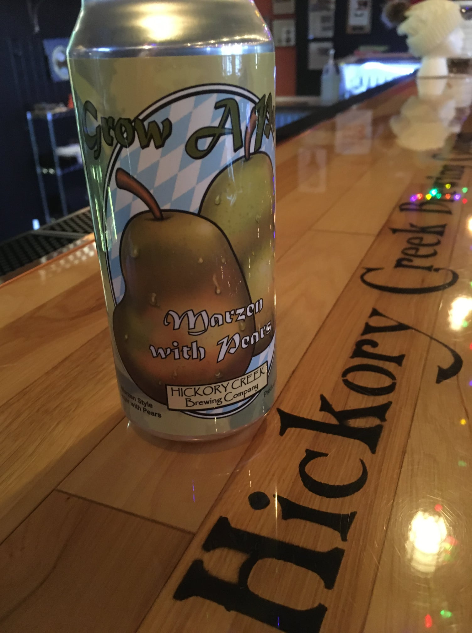 A can of Grow a Pear on the bar of Hickory Creek Brewing Company in New Lenox, IL