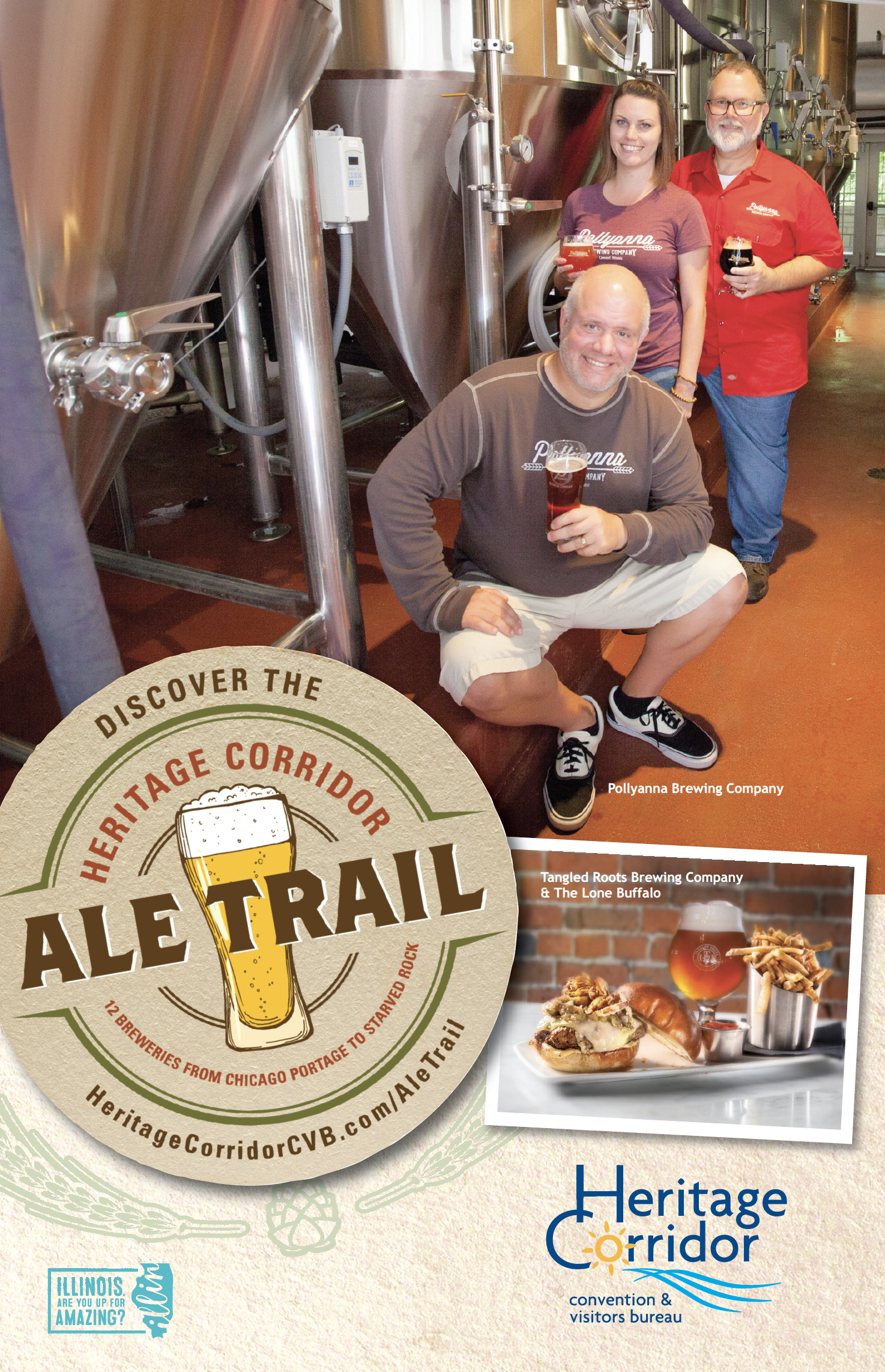 Advertising for the Ale Trail, featuring Pollyanna Brewing Company and Tangled Roots Brewing Company