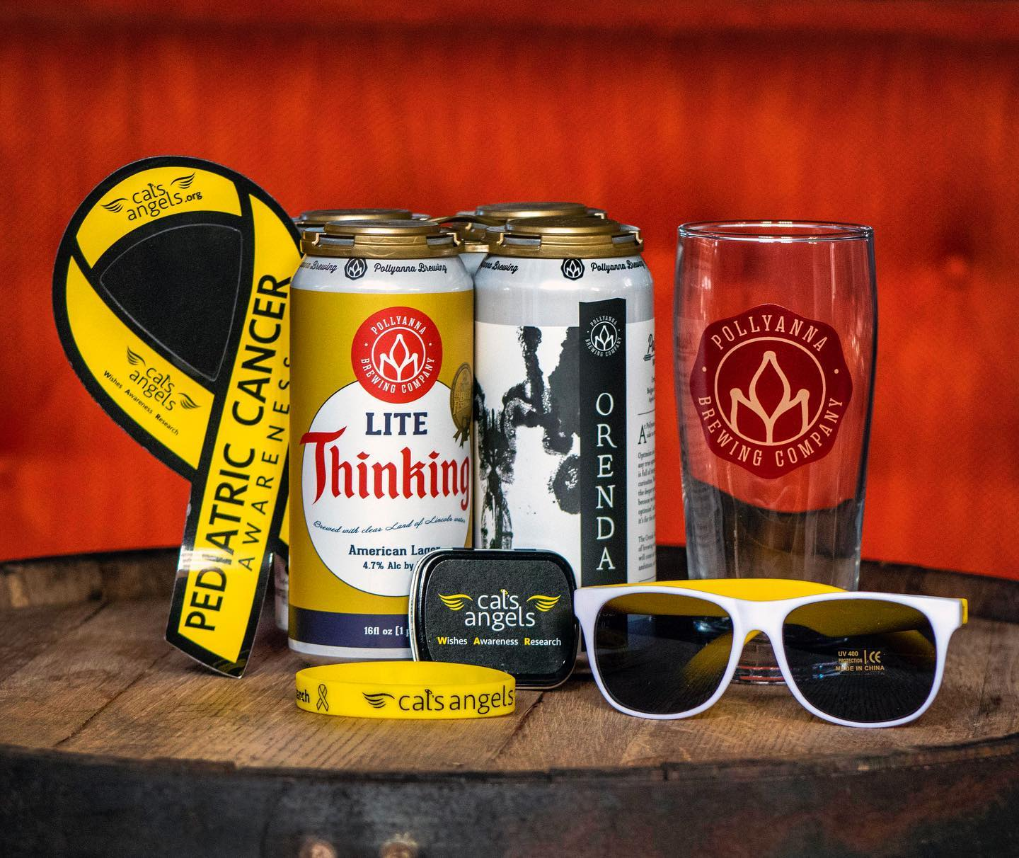 Pollyanna Beer Cans, Pollyanna Beer Glass, Pediatric Cancer Ribbon, Sunglasses, and bracelet