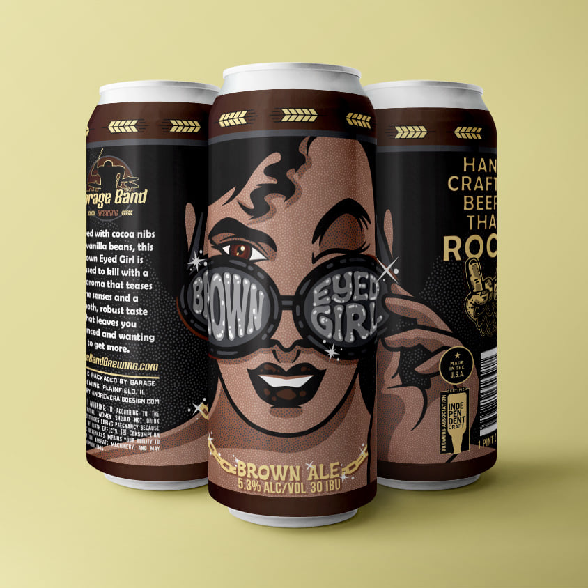 Three cans of Brown Eyed Girl from Garage Band Brewing in Plainfield, IL.