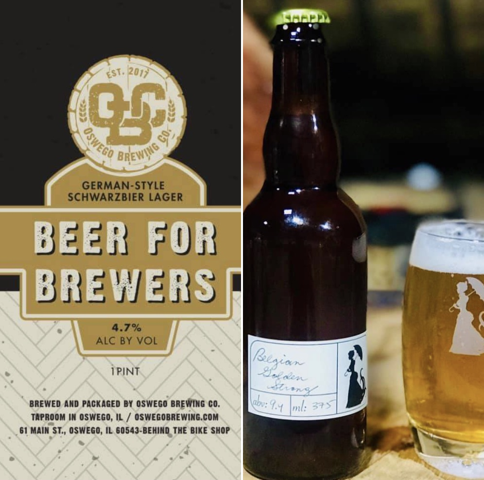 Left side - label for beer for brewers, right side - belgian golden strong bottle and can ... both from Miskatonic Brewing