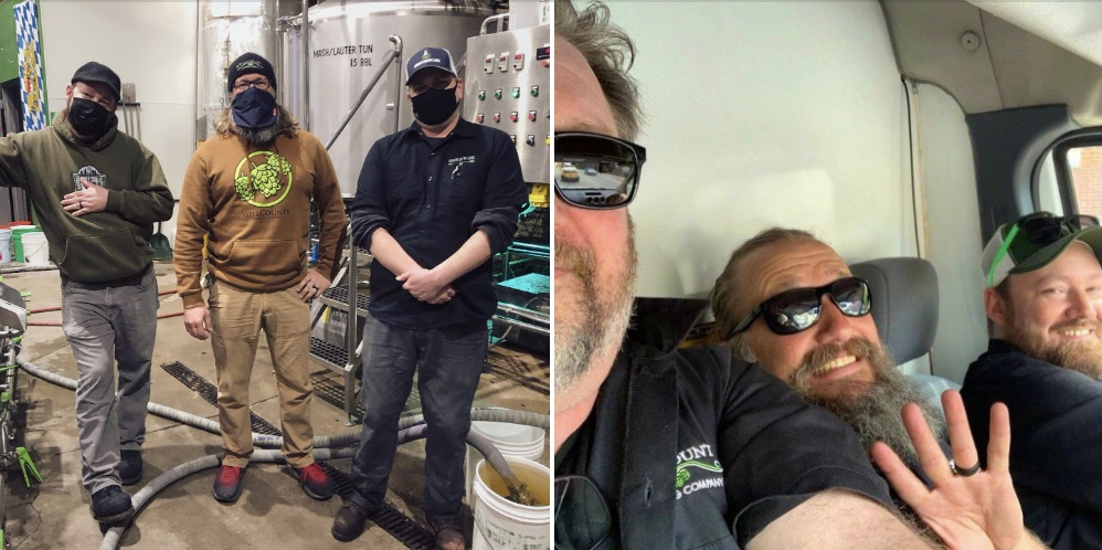 Split photo - left ... three brewers posing for a photo, right - same brewers in a van together