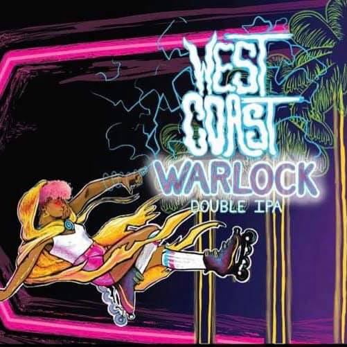 Artwork for West Coast Warlock (lady in roller blades with lightning bolts comign from hands)
