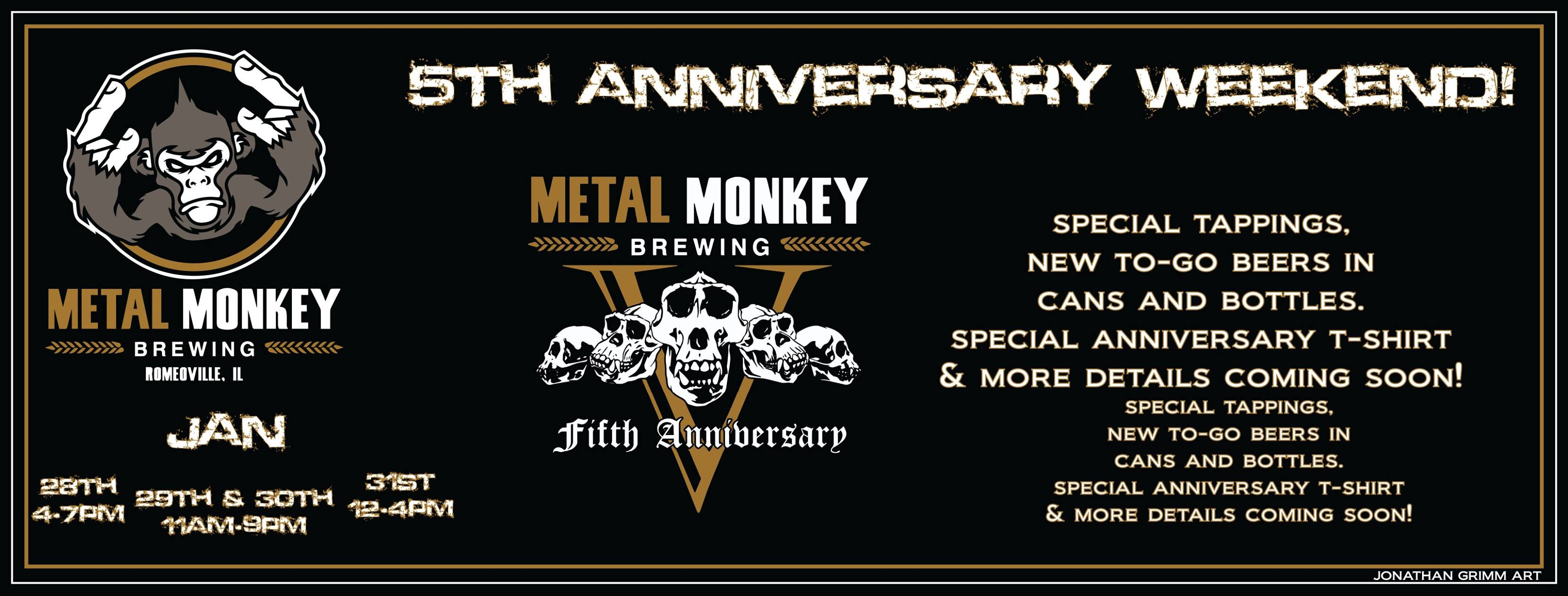 Graphic promoting Metal Monkey's Fifth Anniversary
