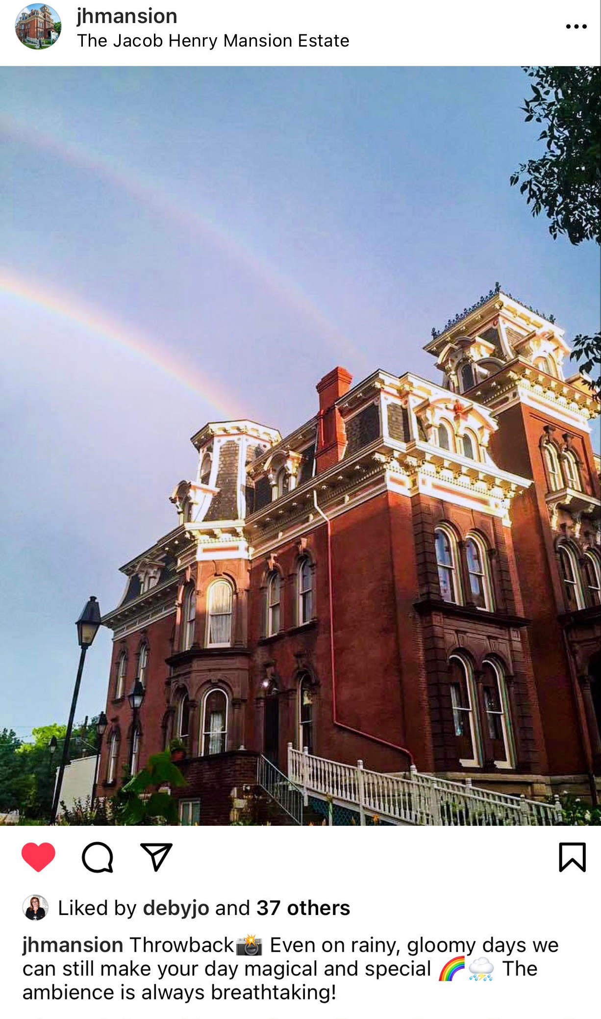 jacob henry mansion with a rainbow