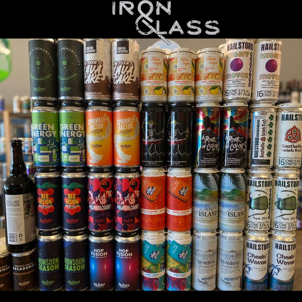 20+ cans of different beers at Iron&Glass Romeoville