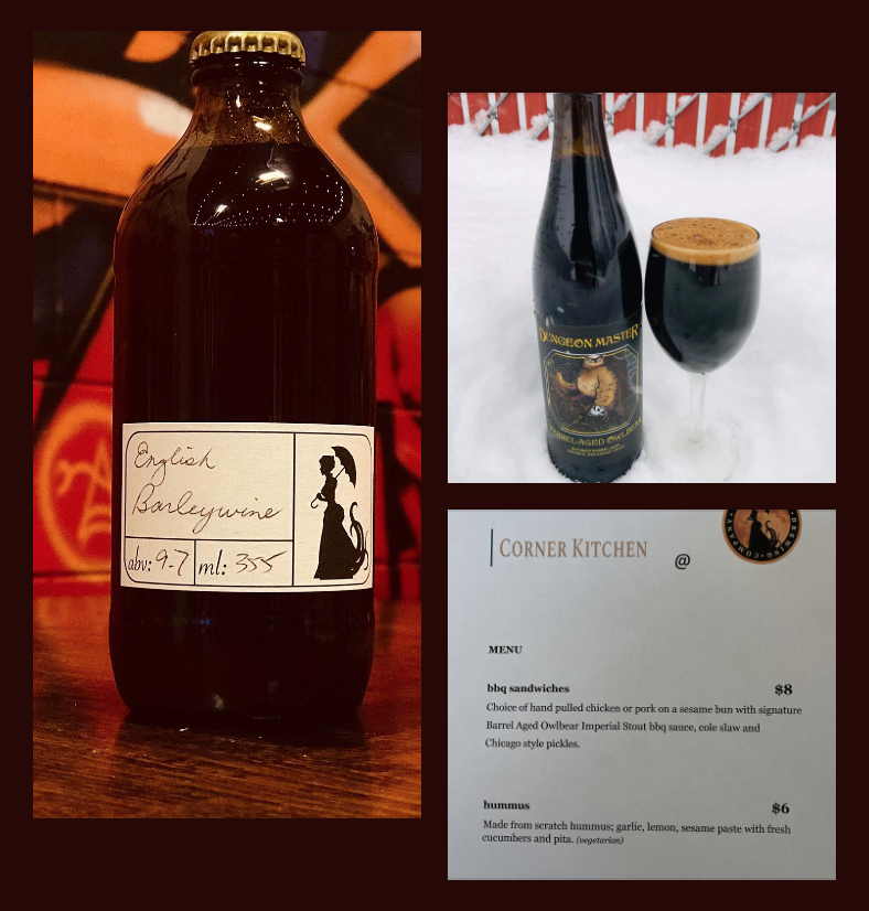 Three photos, bottle of English Barleywine, glass and bottle of Owlbear, and a menu from Corner Kitchen