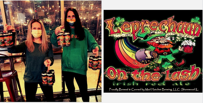 Two ladies holding four packs (left).  Beer logo featuring a leprechaun on hte right.  From Mad Hatchet Brewing
