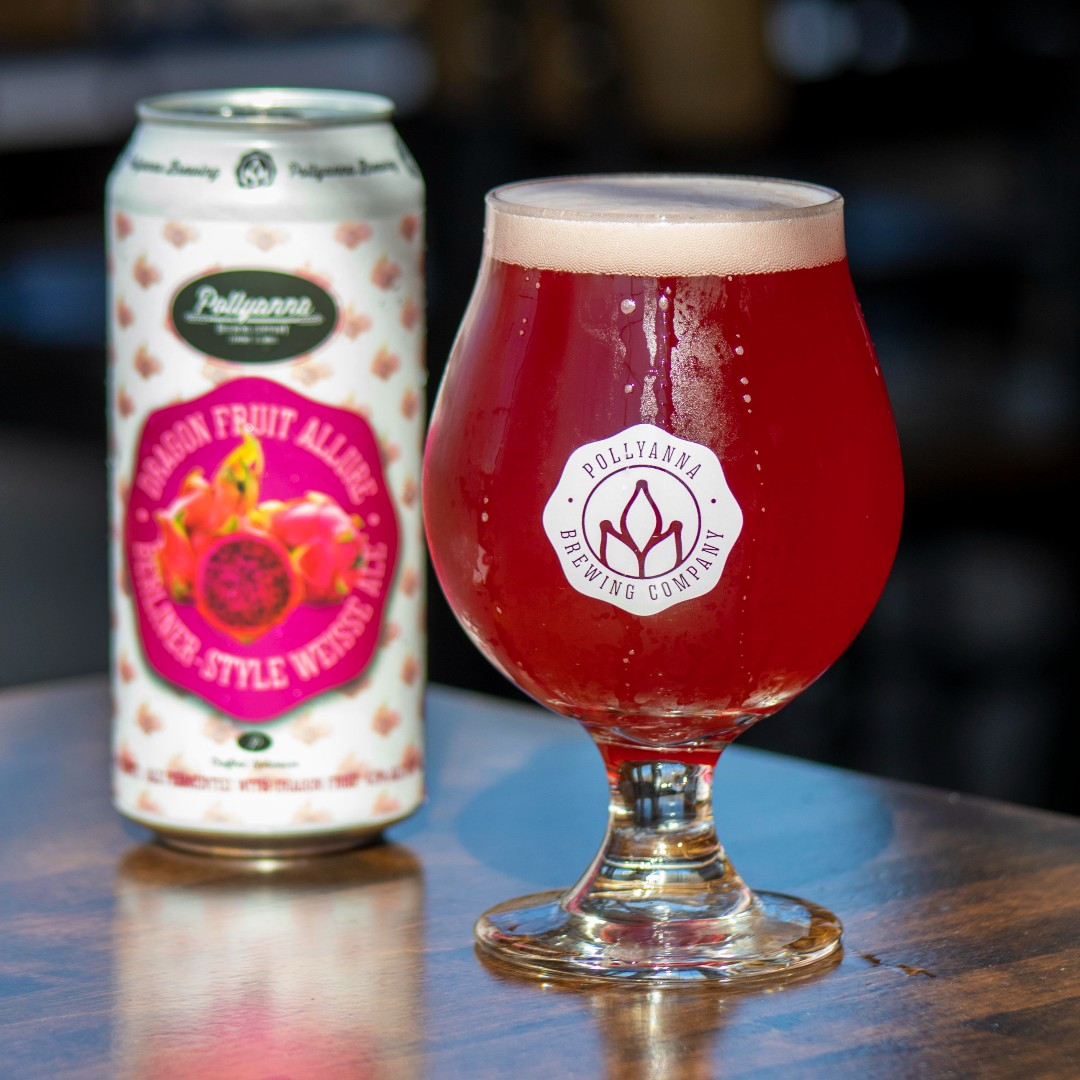 Pollyanna's Dragon Fruit Allure in a can and glass