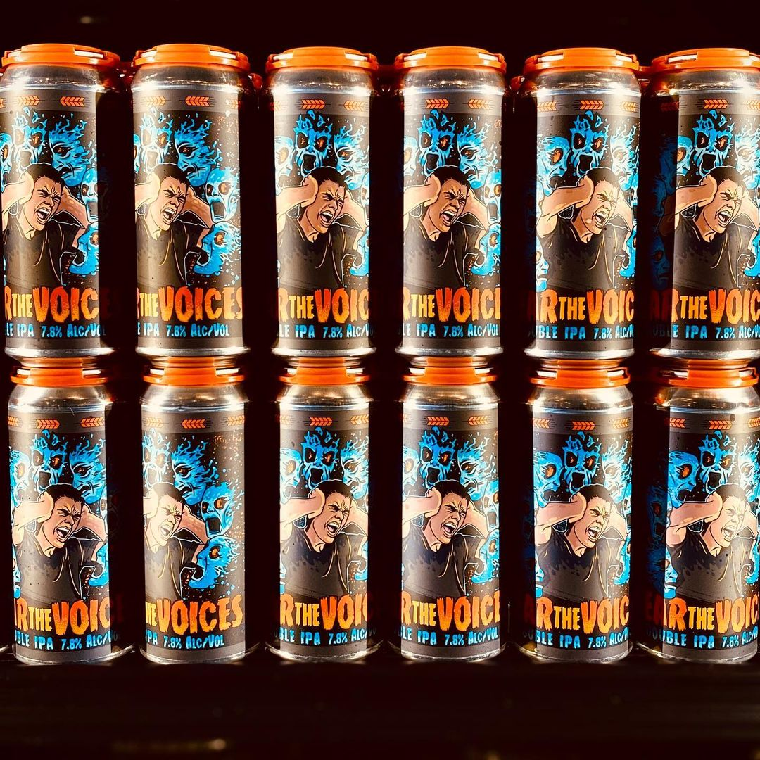 Cans of Garage Band Brewing's Fear the Voices
