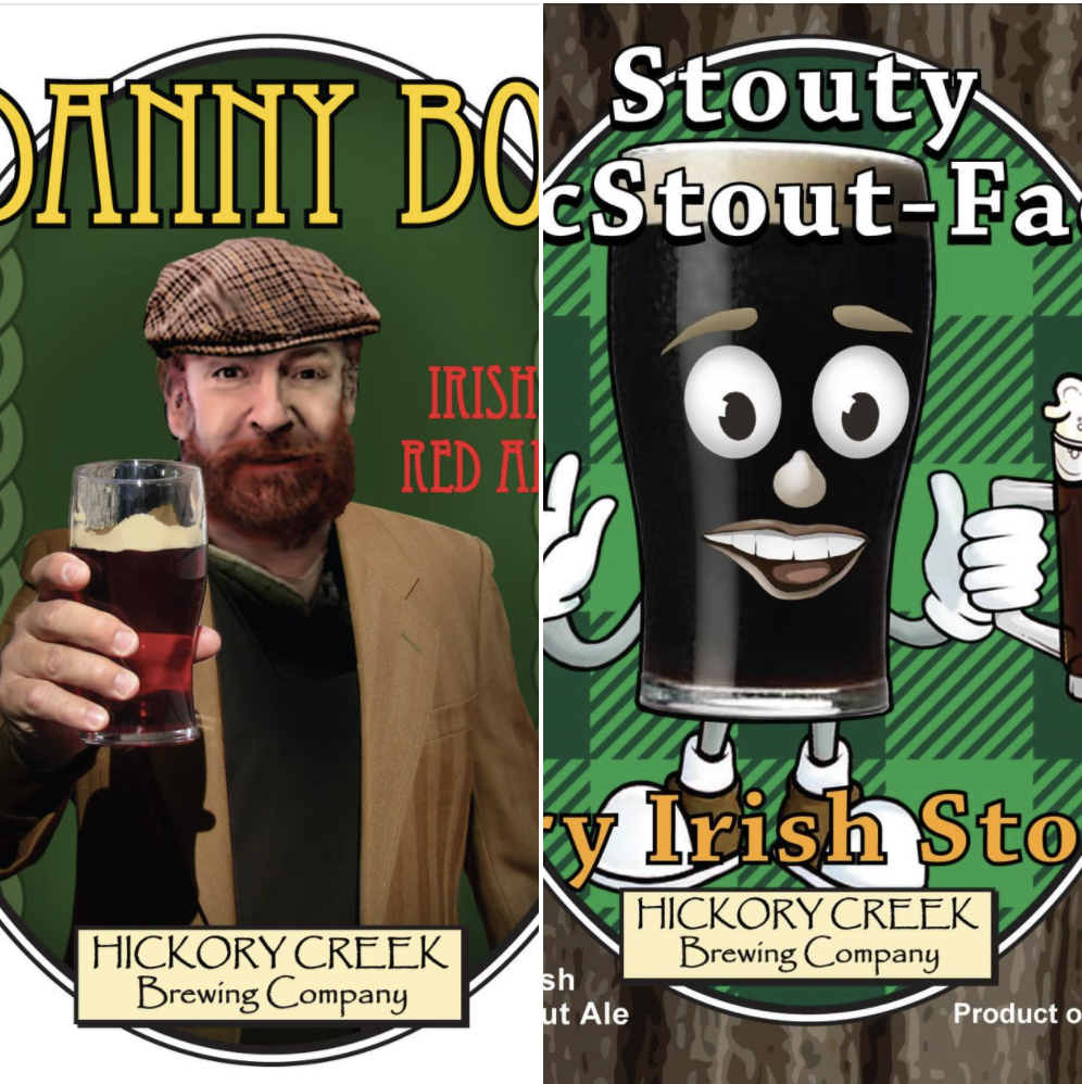 Labels for Danny Boy and Stouty McStout Face at Hickory Creek Brewing