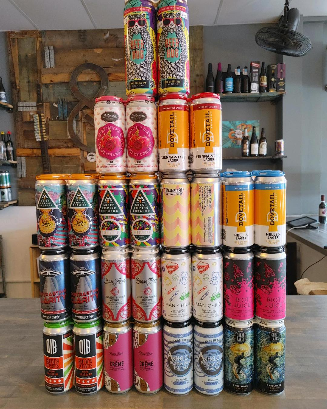Tower of beer cans