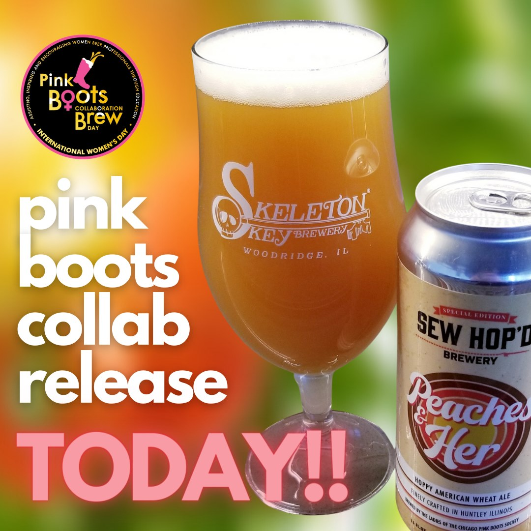Glass and can of Peaches and Her, with Pink Boots Society logo