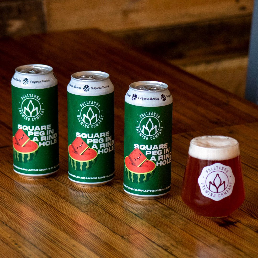 3 Cans and a glass of Square Peg in a Rind Hole from Pollyanna Brewing Company