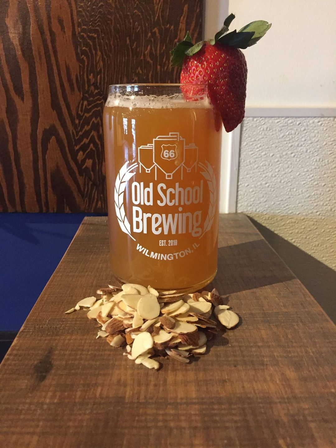 Beer with a strawberry in it, from Rt66 Old School Brewing