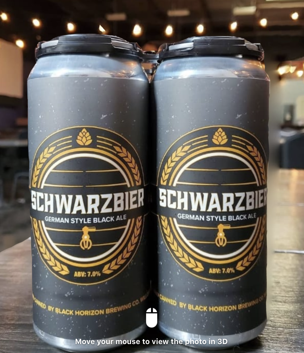 Cans of Schwarzbier at Black Horizon Brewing Company