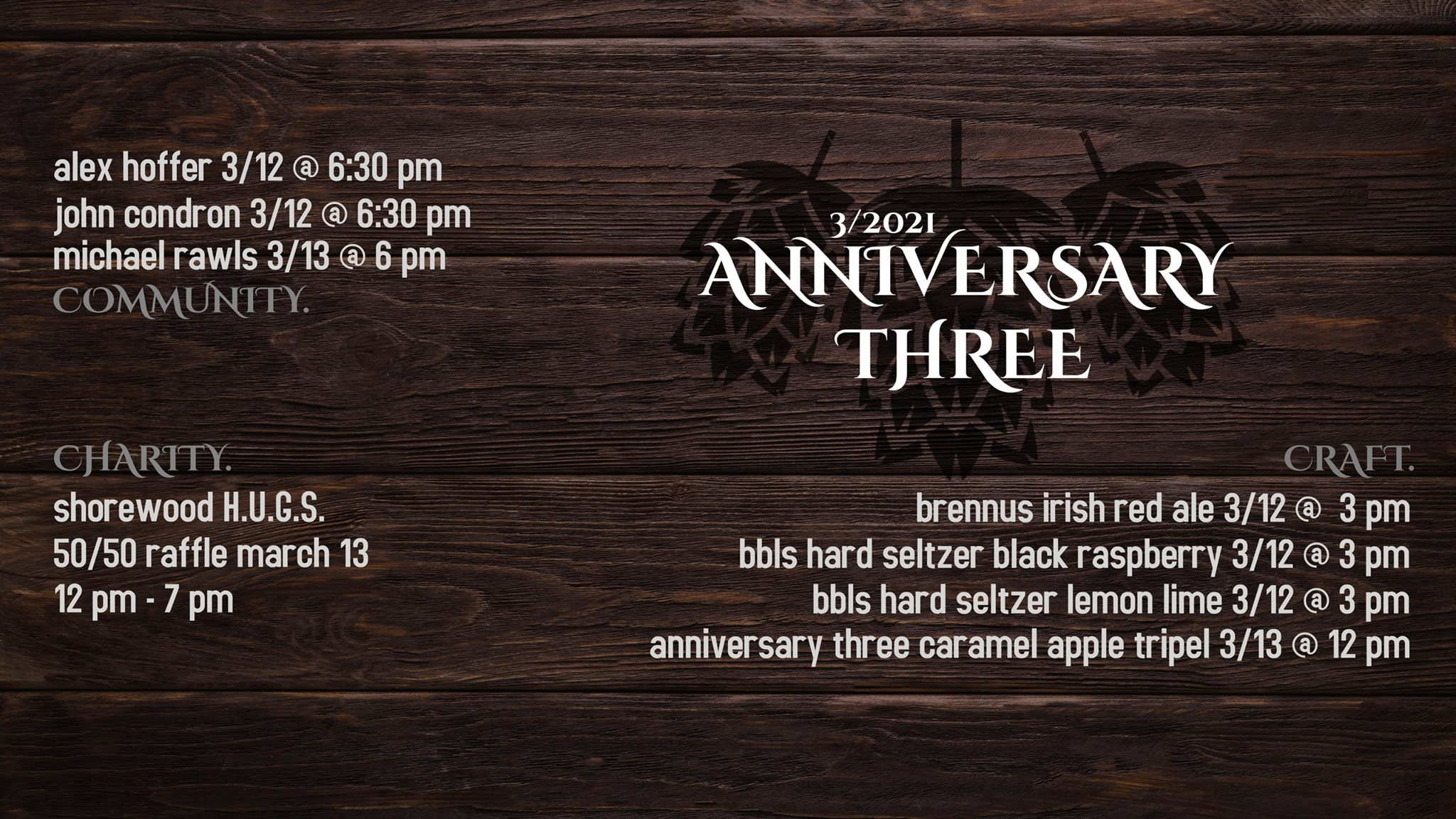Graphic advertising Will County Brewing's Anniversary Three