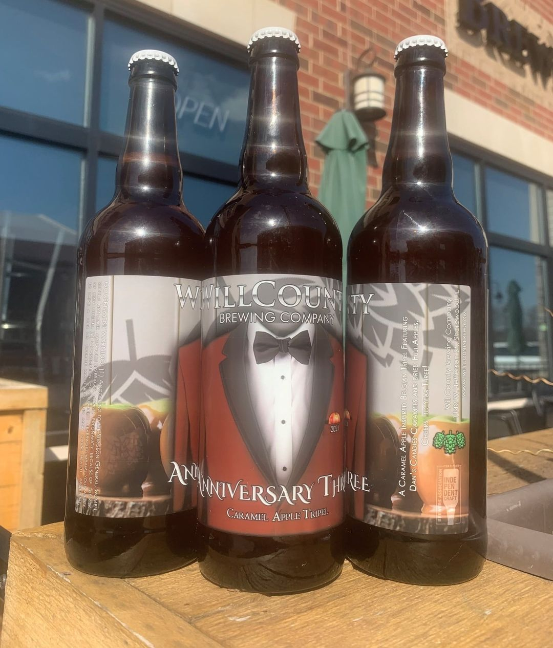 Bottles of Will County Brewing's Anniversary Three