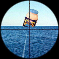 Picture through a submarine's periscope with a torpedo going to a jar of mayo.