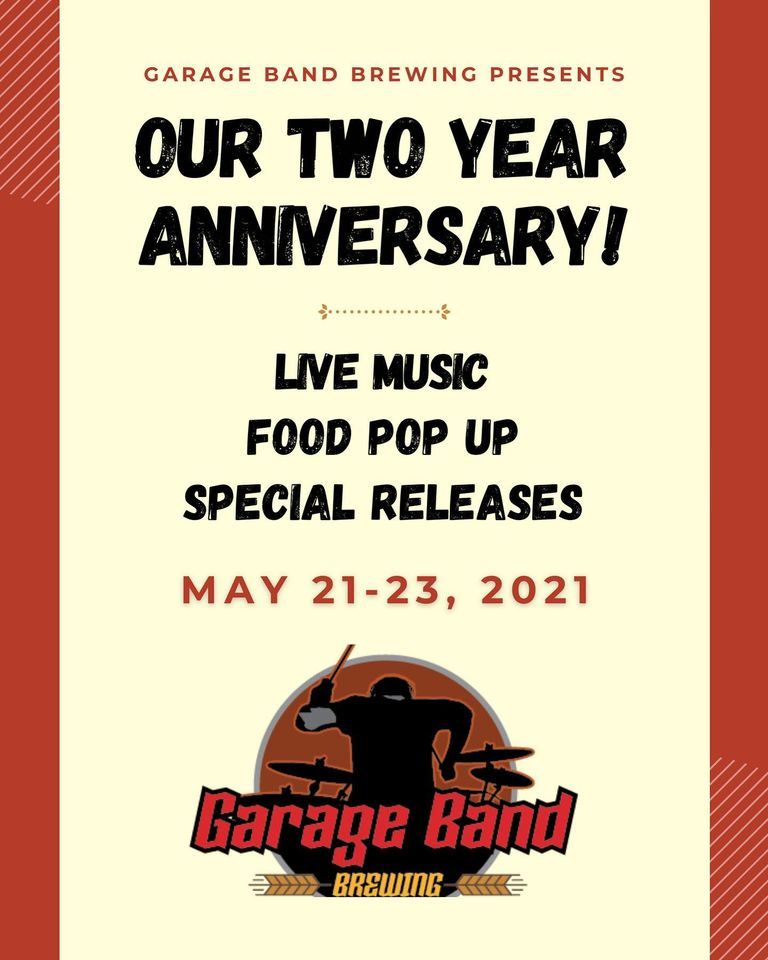 Graphic for Garage Band Brewing's Second Anniversary