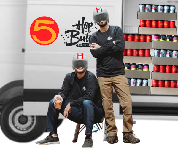 Photoshopped - Two men with Speed Racer helmets in front of a delivery truck