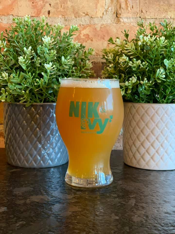 Hazy IPA in front of two artificial flower pots