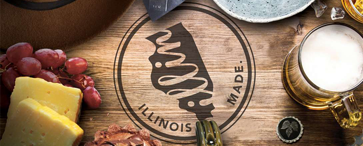 Illinois Made logo - surrounded be cheese, grapes, beer, and other consumables