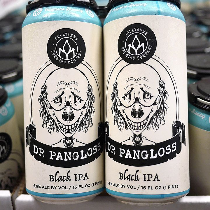 Cans of Dr. Pangloss from Pollyanna Brewing Company