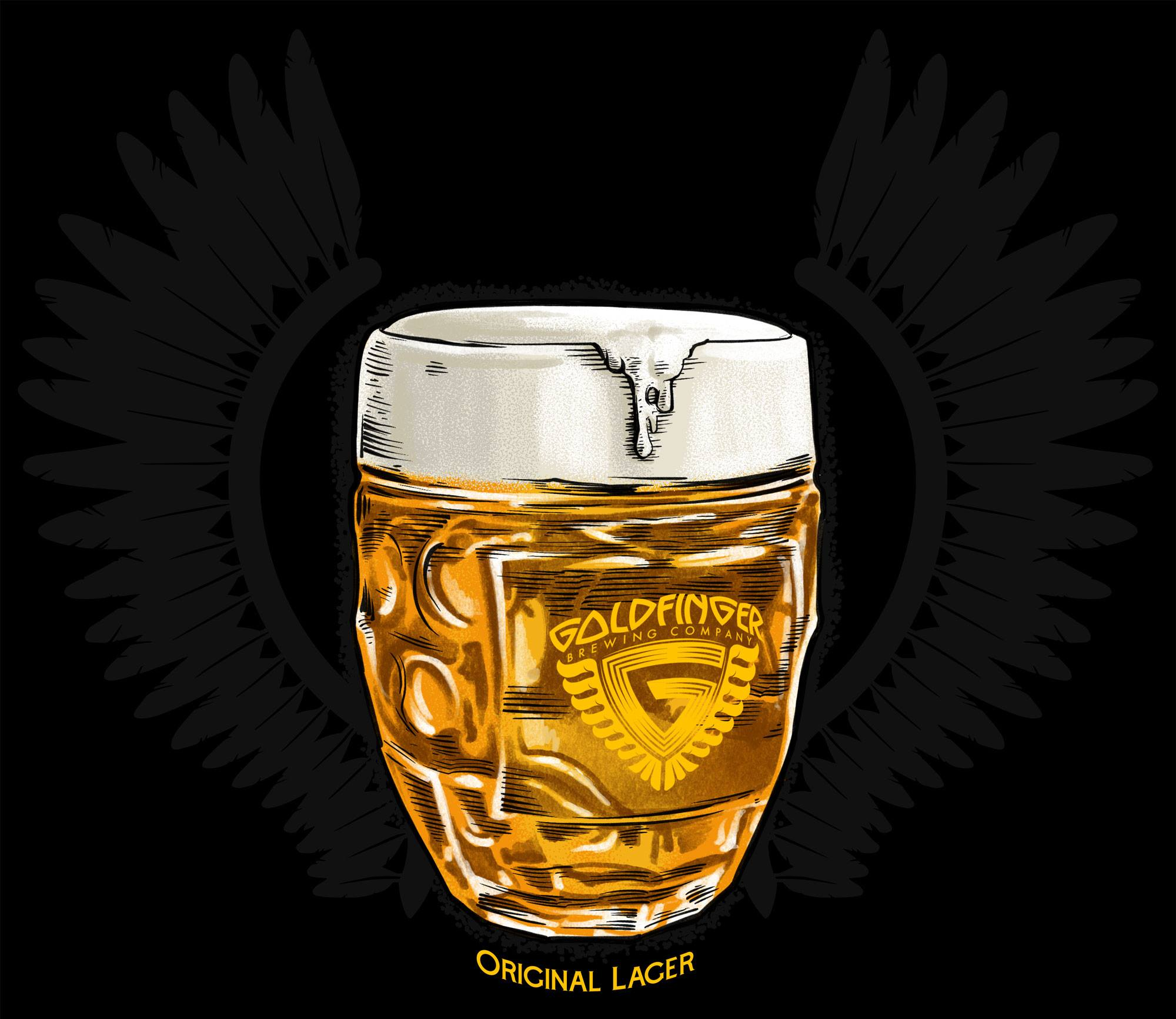 Drawing - Goldfinger Original Lager in a glass